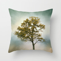 Bleached Sage Green Cotton Field Tree - Landscape  Throw Pillow by Jai Johnson