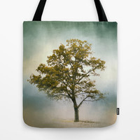 Bleached Sage Green Cotton Field Tree - Landscape  Tote Bag by Jai Johnson