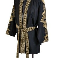 VERSACE Belted Embroidered Black Wool Blend Kimono Jacket