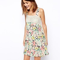 ASOS Premium Smock Dress in Floral Print and Lace at asos.com
