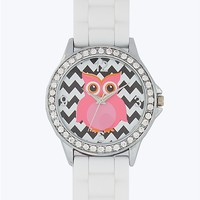 Pave Bezel Owl Chevron Watch
