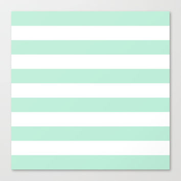 Stripe Horizontal Mint Green Stretched Canvas by BeautifulHomes | Society6