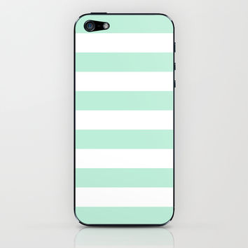 Stripe Horizontal Mint Green iPhone & iPod Skin by BeautifulHomes | Society6