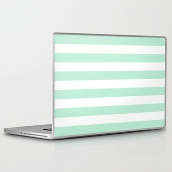 Stripe Horizontal Mint Green Laptop & iPad Skin by BeautifulHomes | Society6