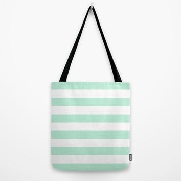 Stripe Horizontal Mint Green Tote Bag by BeautifulHomes | Society6