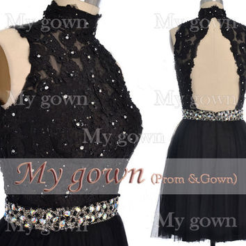 2014 Black Homecoming Dress,Straps Beaded Lace Applique Short Mini Dress,Prom Dress, Dresses,Bridesmaid Dress,Cocktail Dress,Homecoming Gown