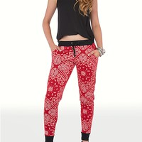 Red Patchwork Bandana Terry Jogger