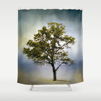 Emerald Waters Cotton Field Tree - Landscape Shower Curtain by Jai Johnson