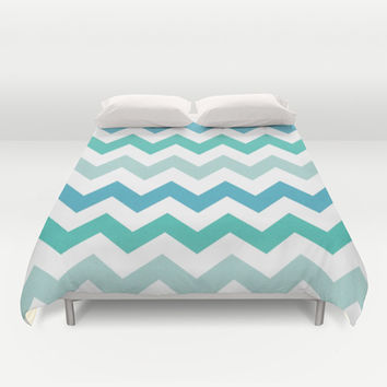 Shades Of Blue Chevron  Duvet Cover by KCavender Designs