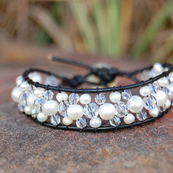 III Pearl and Swarovski Crystal Black by authenticaboutique
