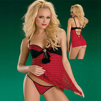 New Arrival Red Satin Grenadine Chemise and Panty Set [TML0121] - £28.09 : Zentai, Sexy Lingerie, Zentai Suit, Chemise