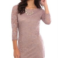 Eyelash Lace Bodycon Dress with Three Quarter Length Sleeves