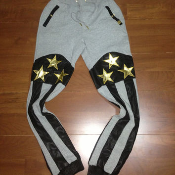 "Forte ""Grey with Gold Stars"" Sweatpants"