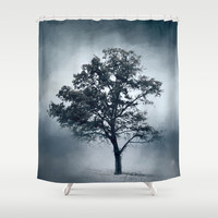 Ice Cool Cotton Field Tree - Landscape Shower Curtain by Jai Johnson