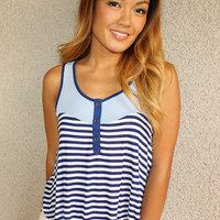 'Coronado' Stripes and Mesh Tank (Blue)