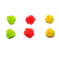 Neon Green, Yellow and Red Rose Post Earrings, Hypoallergenic