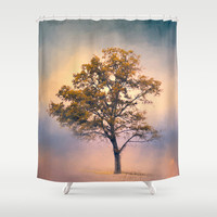 Pastel Skies Cotton Field Tree - Landscape Shower Curtain by Jai Johnson