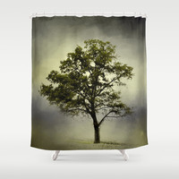 Pine Glade Cotton Field Tree - Landscape Shower Curtain by Jai Johnson