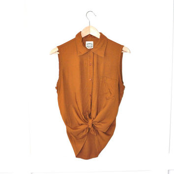80s minimalist sleeveless burnt orange rayon blouse