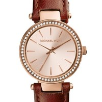 Michael Kors 'Petite Darci' Crystal Bezel Leather Strap Watch, 26mm