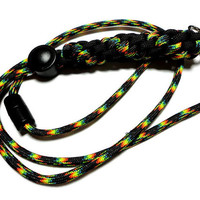 Men Lanyard 550 Paracord Black and Multi Round Crown Sinnet Weave Handmade USA Breakaway