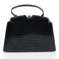 Vintage Lewis Antelle Patent Leather Black Handbag | VintageAnelia - Bags &amp; Purses on ArtFire