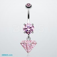 Urban Diamond Tiffany Inspired Dangle Belly Button Ring