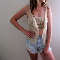 Vintage White Lace Tank Vest Throwover Knit Crochet Shabby Chic Gypsy Indie Hippie Folk