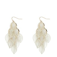 Filigree Leaf Waterfall Drop Earring