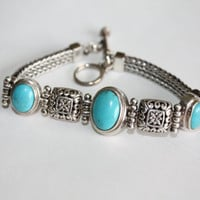 Sterling Turquoise  Bracelet Filigree  1990s Jewelry 925