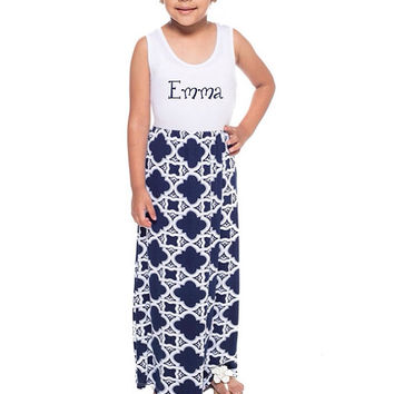 Girls Monogrammed Navy Maxi Dress- Back to School