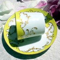 Antique French Porcelain Demitasse Gilt Yellow Cup & Saucer