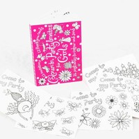 Colour In Postcards Party Invites Pink X1 Od04