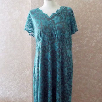 Sheer Lace Maxi Dress Aqua Blue Cutout Shift  Extra Large XL Steampunk