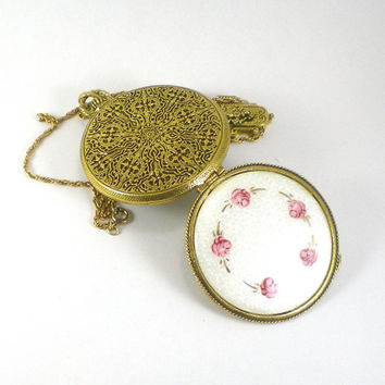 White Pink Rose Guilloche Compact Locket Necklace With Gold Fob Chain