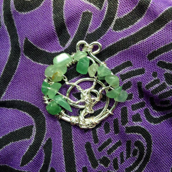 Wire Wrapped Aventurine Tree of Life Pendant