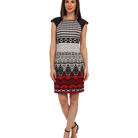 London Times Cap Sleeve Printed Sheath Dress