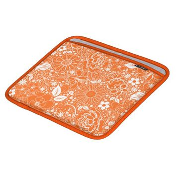 Botanical Beauties Orange iPad Sleeve Horizontal