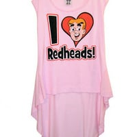 "Archie Comics ""I Love Redheads"" Pink Hi Low Hemline T-Shirt Top"