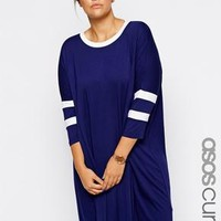 ASOS Curve | ASOS CURVE Exclusive T-Shirt Dress With Stripe Detail at ASOS