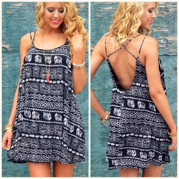 Wise Journey Elephant Swing Dress