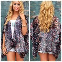 Eye Of The Storm Black Printed Kimono