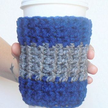 Dallas Team Colors Coffee Cozy in Navy Blue and Grey, ready to ship.