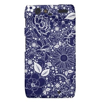 Botanical Beauties Blue Motorola Droid Razr