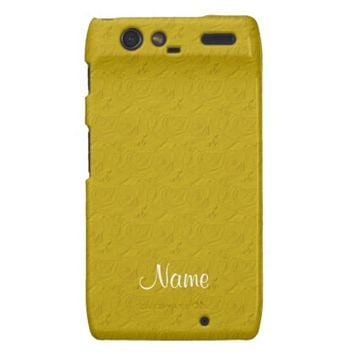 Embossed Roses Yellow Motorola Droid Razr