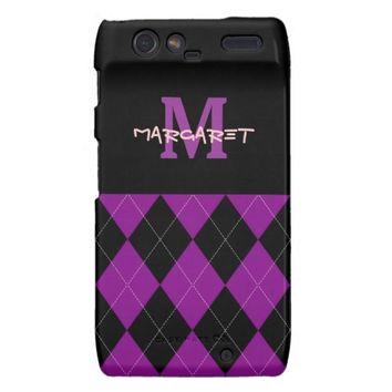 Monogram Purple Black Argyle Motorola Droid Razr