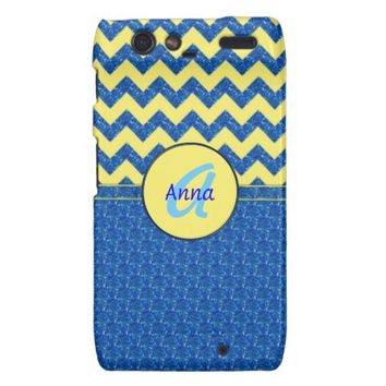 Monogram Blue-Yellow Chevron Droid Razr Case