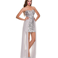 2014 Prom Dresses - Silver Sequin & Chiffon High-Low Gown