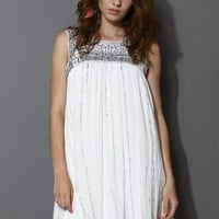 Mysterious Tribal Embroidered Sleeveless Dress