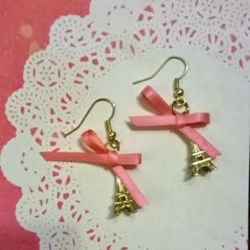 Eiffel Tower Earrings with Multi Color Bows- Paris- Mint-Pink-Black